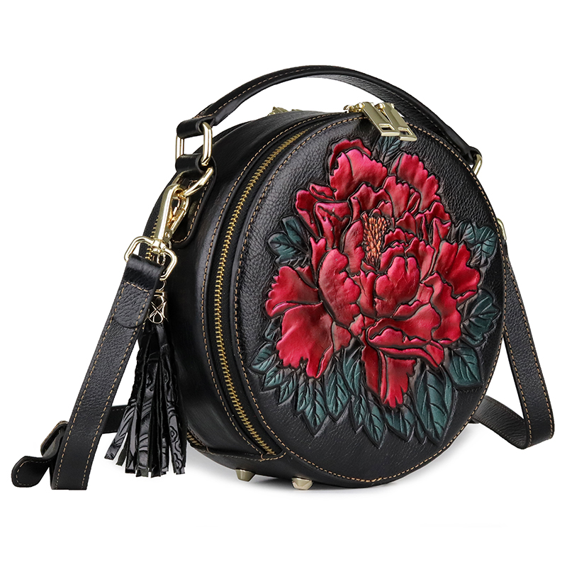 Senhora circular saco genuína flor de couro festa à noite sacos de mão mulher de negócios de moda casual ombro do vintage pequeno saco rodada - 3