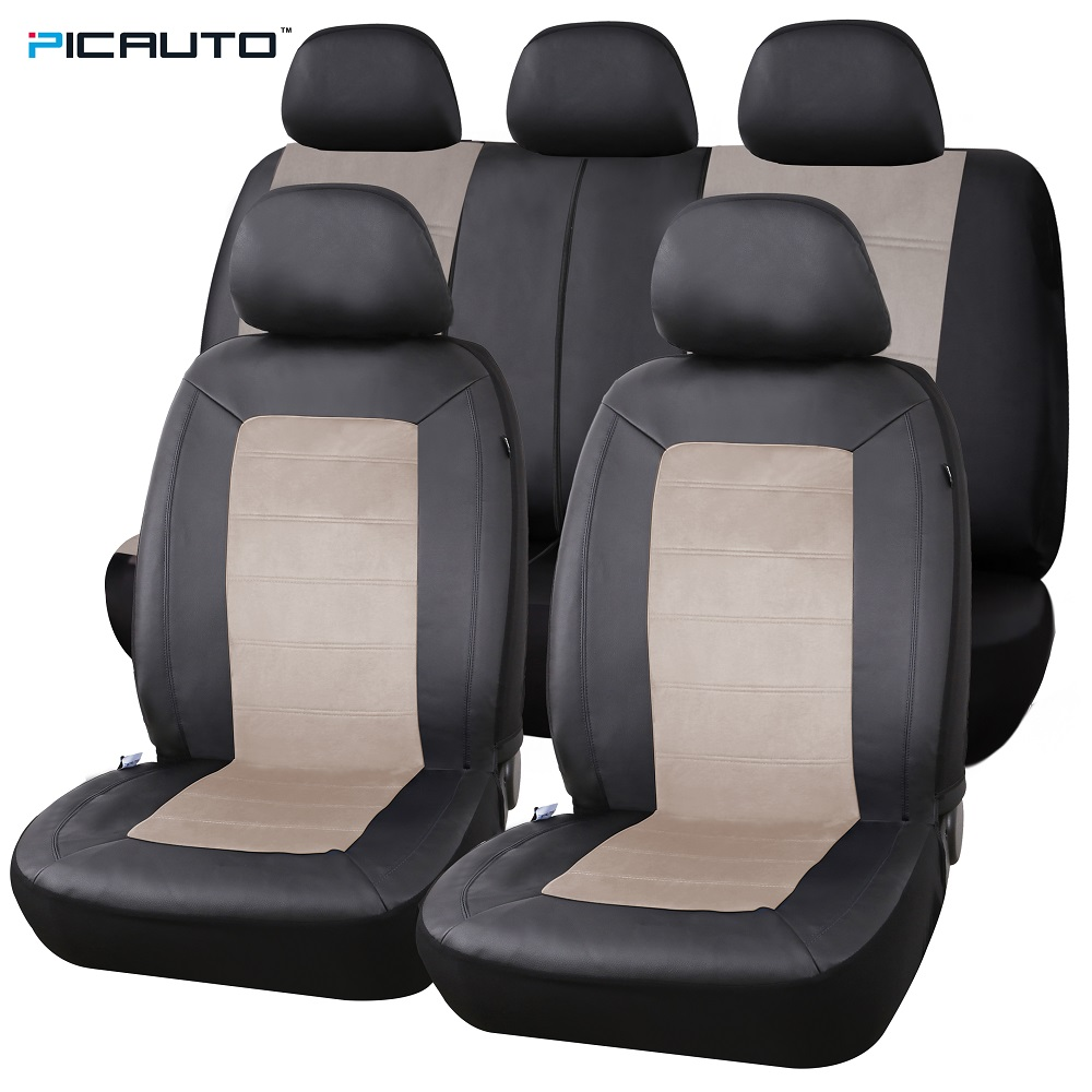 PIC AUTO Car Seat Covers Full Set PU Leather Suede Fabric Airbag Compatible Universal Fit Auto Truck Interior Accessories In Automobiles