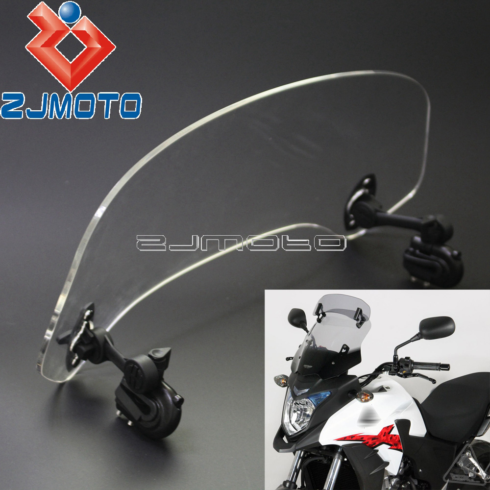 オートバイ調整可能なクリップオンスポイラーフロントガラス延長モト X Creen ホンダ Crosstourer CBR500X NC700X NC750X VFR1200X  グループ上の 自動車 &バイク からの フロントガラス & ウィンドディフレクター の中 1