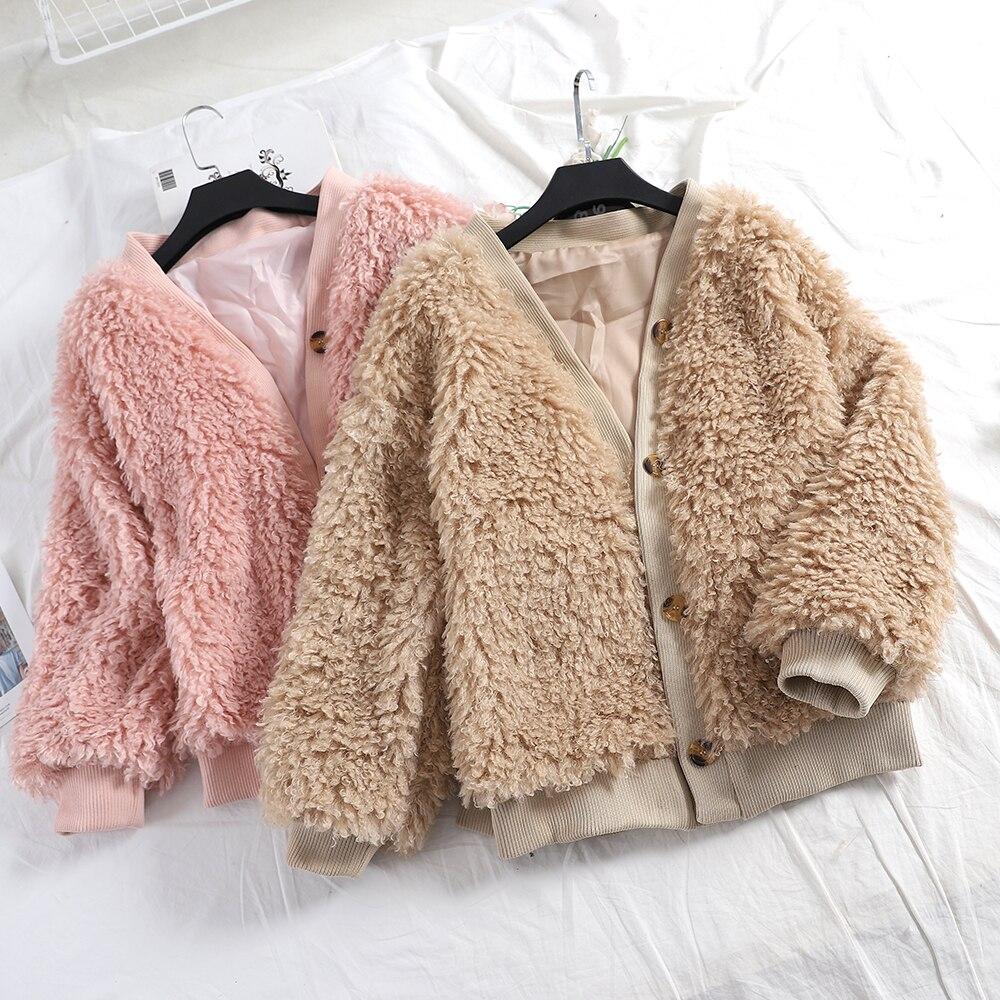 93b224a99 Cordero breasted Caqui Estilo Abrigo Camisa rosado Mujer Larga ...