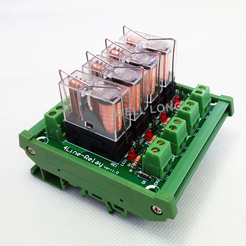 цена на DIN Rail Mount 4 SPDT 16A Power Relay Interface Module,OMRON G2R-1-E DC12V Relay.