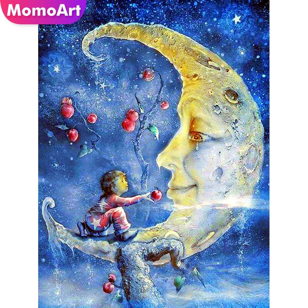 MomoArt 5d Diamond Painting Moon Embroidery Full Square Stones DIY Mosaic Cartoon Child Gift