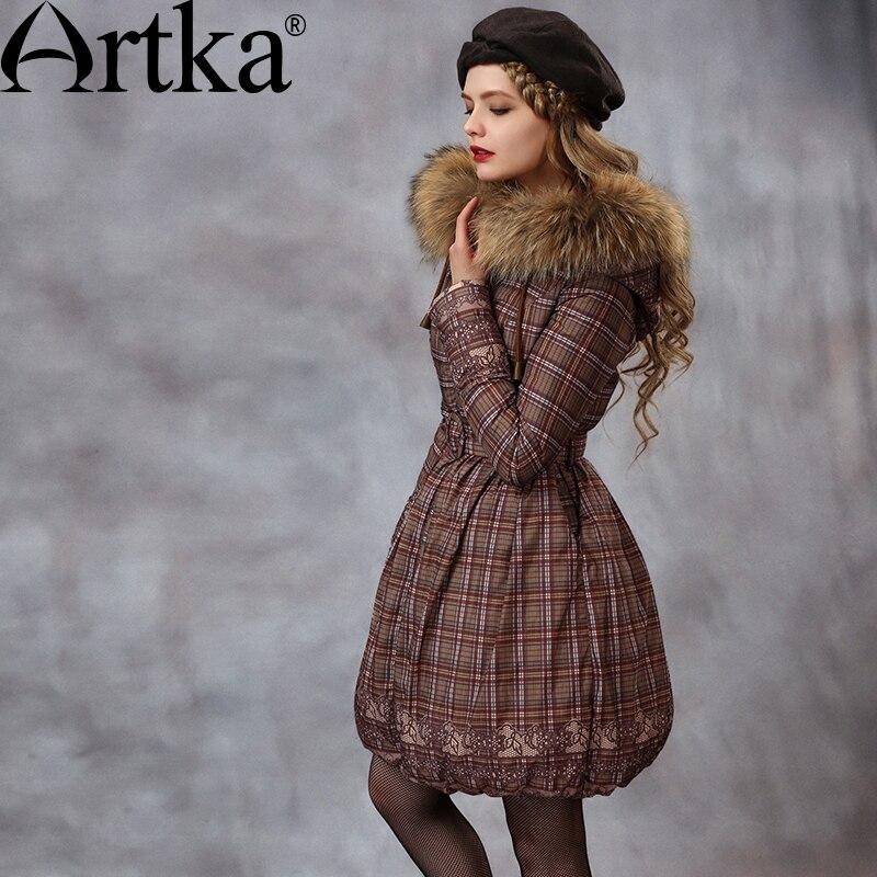 Artka Winter Women's Down Jacket With Raccoon Fur Collar Warm Parka Female Windbreaker With Sashes Plaid Raincoat Femme ZK10059D