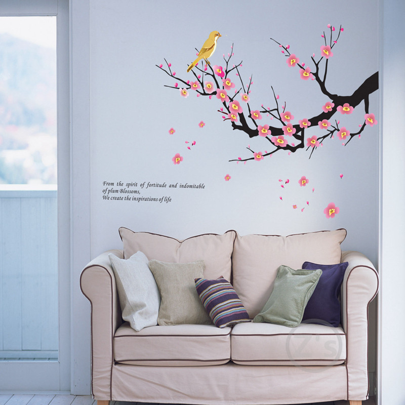 Buy tree bird wall decals tree branch for Bird wall mural