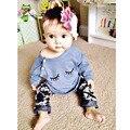 2017 Nuevos Bebés del Otoño Que Arropan el sistema Lindo de Algodón Lindo de Manga Larga T-shirt Top + Pants 2 Unids Traje Precioso Ropa de Bebe
