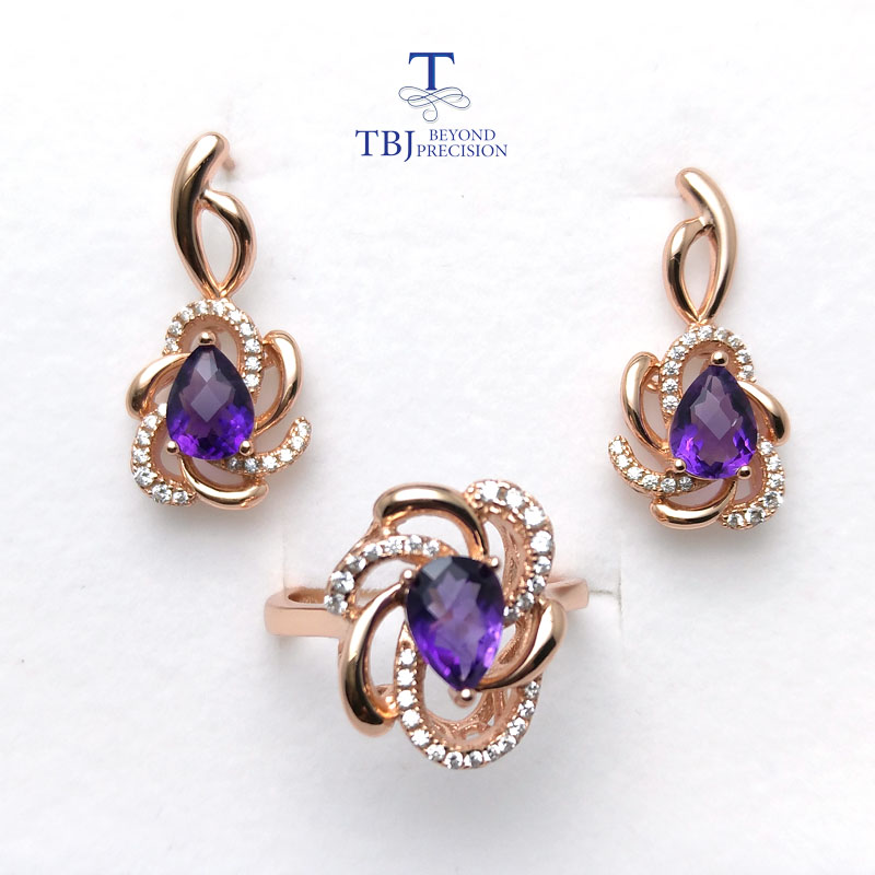 все цены на TBJ,Romantic jewelry set with natural amethyst gemstone Ring and earring in 925 silver rose gold color women February birthstone онлайн