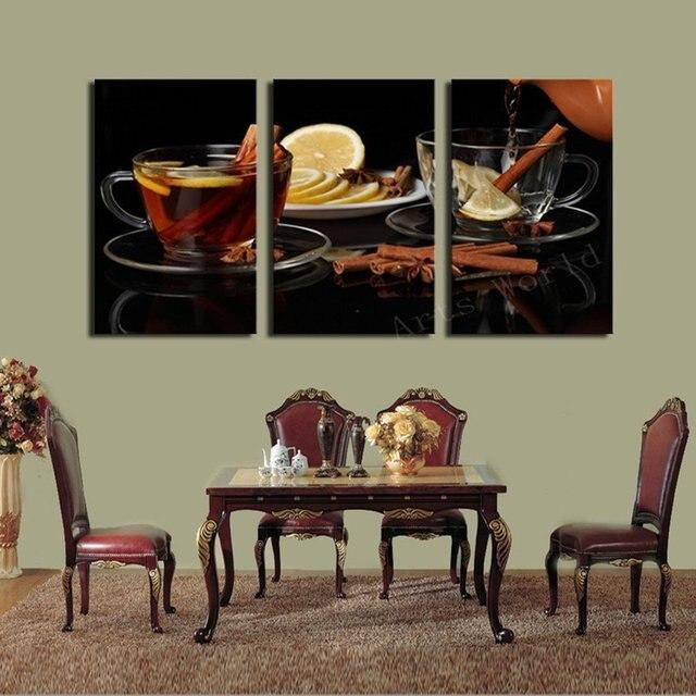 3 sets Canvas Painting Lemon Glass Drink Art Cheap Picture ...