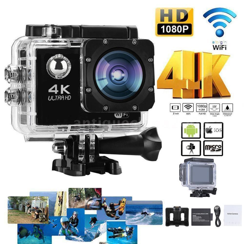 4K 30fps 16MP WiFi Action Sports Camera 1080P 60fps Full HD 4X Digital Zoom Diving 40m