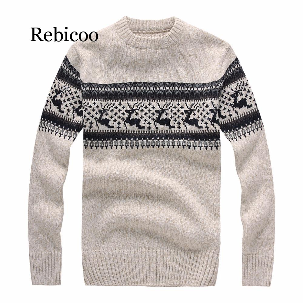 New 2019 Autumn And Winter Fashion Brand Clothing Men's Christmas Deer Sweater Slim Men's Pullover Knit Sweater