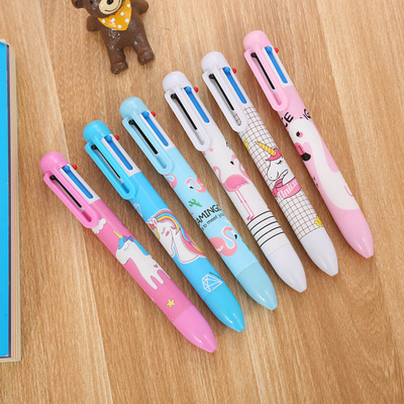 1pcs Unicorn 6Color Gel Pen 0.5mm Flamingo Kawaii Ballpoint Pens Novelty Stationery Cute Pens Student Pen School Office Supplies