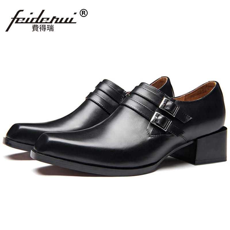 New Arrival Square Toe Man Suit Shoes Genuine Leather High Heels Oxfords Formal Dress Mens Monk Strap Wedding Prom Flats SS514New Arrival Square Toe Man Suit Shoes Genuine Leather High Heels Oxfords Formal Dress Mens Monk Strap Wedding Prom Flats SS514