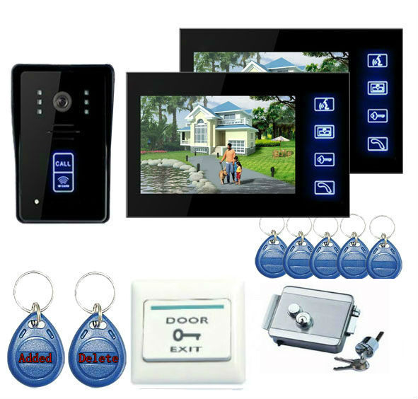 freeship by DHL 7 Color Screen Video Intercom Door Phone 2 Monitors Waterproof Visible wired Home