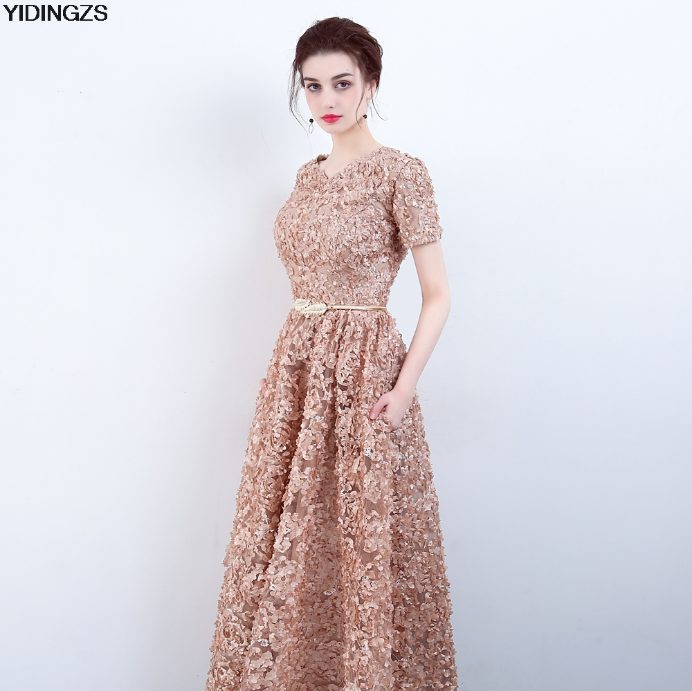 5fe3f46e22b2 YIDINGZS Elegant Khaki Lace Evening Dress Simple Floor length Prom Dress  Party Formal Gown-in Evening Dresses from Weddings   Events on  Aliexpress.com ...