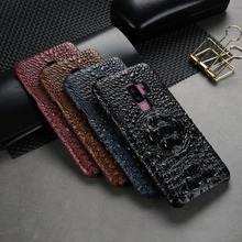 Luxury Crocodile Pattern Case For Samsung Galaxy S9 Plus S9+ Genuine Cowhide Leather Skin Back Cover For Samsung Galaxy S9 Case samsung s9 case luxury original genuine suede leather protector case samsung galaxy s9 plus case galaxy s9 s9 ef xg960 ef xg965