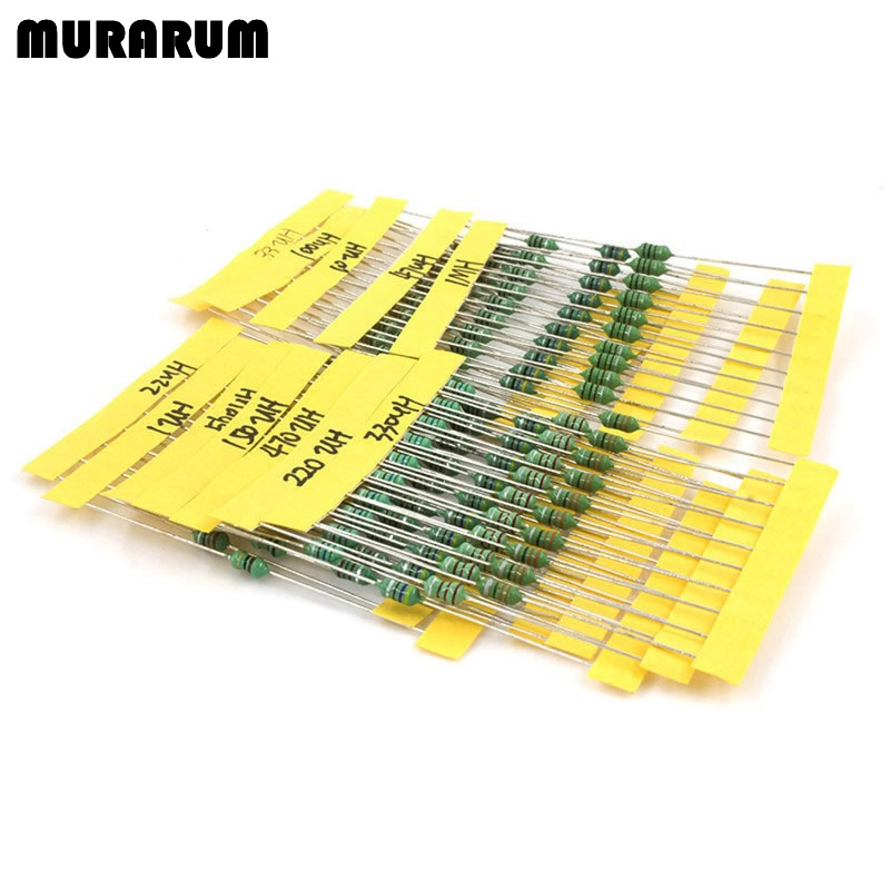 MURARUM inductor assortment 0307 1/4W 1UH-1MH 12valuesX10pcs=120pcs inductors color code inductor set 1000pcs 1 4w metal film resistors 750kohm 1