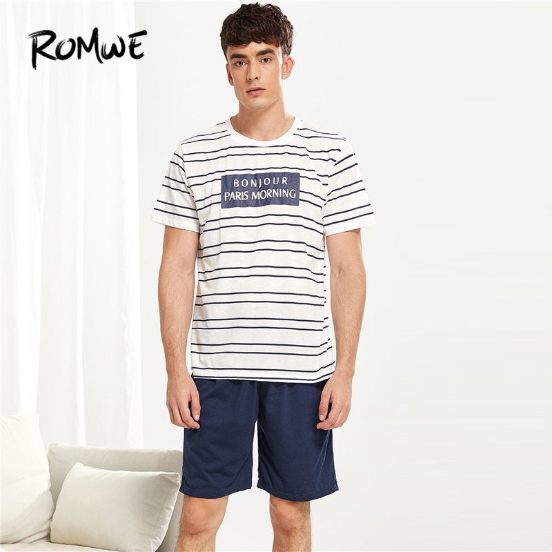 ROMWE Men Letter Print Striped   Pajama     Set   2019 Casual Round Neck Shirts And Pants Comfortable Summer Men Nightwear