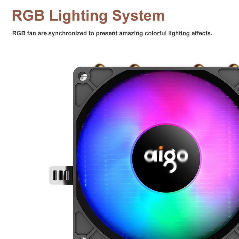 Aigo CPU برودة RGB مروحة التبريد 4 أنابيب الحرارة جهاز كمبيوتر شخصي برودة 90 مللي متر مروحة المبرد 3Pin المبرد التبريد ل LGA/115X/AM3/AM4/2011
