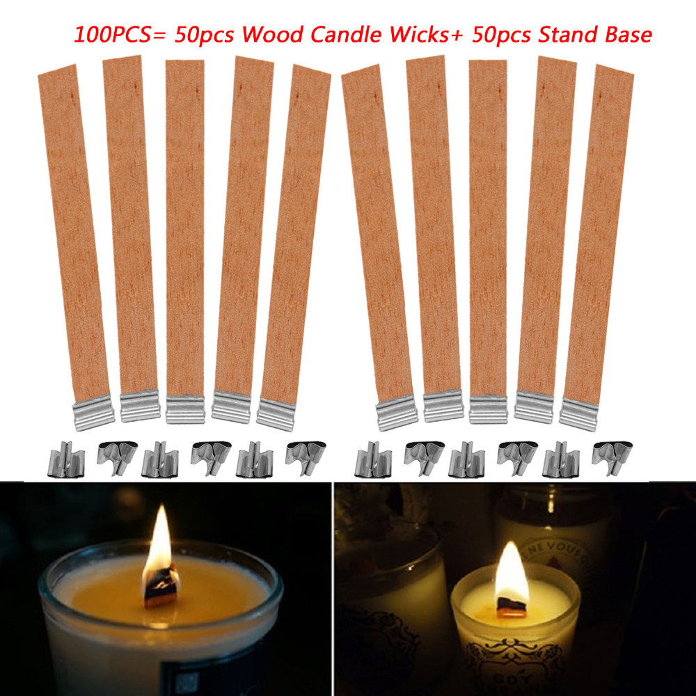 Wood Candle Wicks Diy: Behogar 50pcs 13 X130mm Wooden Candle Wicks Cores With
