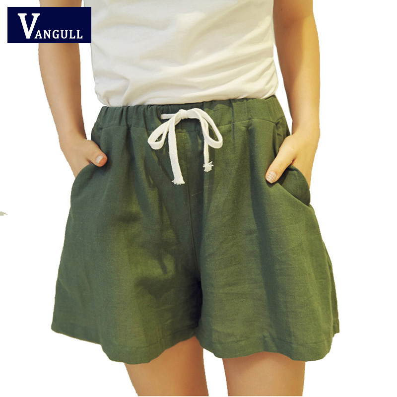 2017 New Fashion Women Leather   Shorts   Skirts High WaistElastic Waist Tunic Drawstring Elegant Beach Pocket Cuffs Female   Shorts