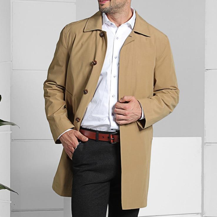 New Brand Men Slim Fit Long Trench Coat 2019 Spring Autumn Single Breasted Business Casual Men Windbreaker Khaki Blue 4XL