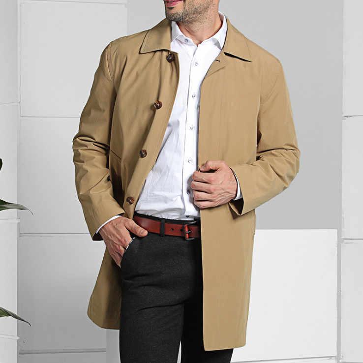 Новый бренд Для мужчин Slim fit с длинным плащ 2019 Демисезонный Однобортный Бизнес Повседневное Для мужчин ветровка Хаки Синий 4XL