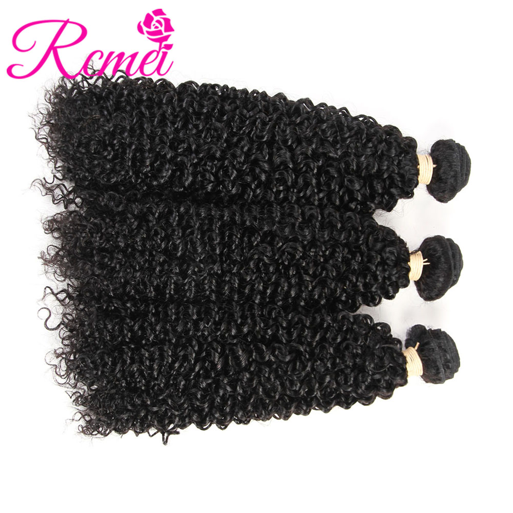 Rcmei Indian Remy Hair Extension Kinky Curly Human Hair Bundles 3 Bundles/LOT Indian Hair Weave Bundles Hair Weave Weft