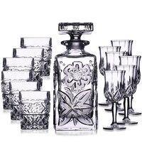 7 шт./компл. хрустальный стеклянный тумблер для виски бутылка для вина с резным цветочным покрытием хрустальные бокалы для вина посуда Сваде