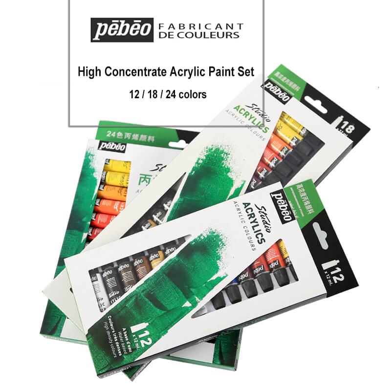 12ML Pebeo High Concentrate Acrylic Paint set 12/18/24 colors Painting Watercolor Paints Tube Art Pigment DIY Artist Supplies
