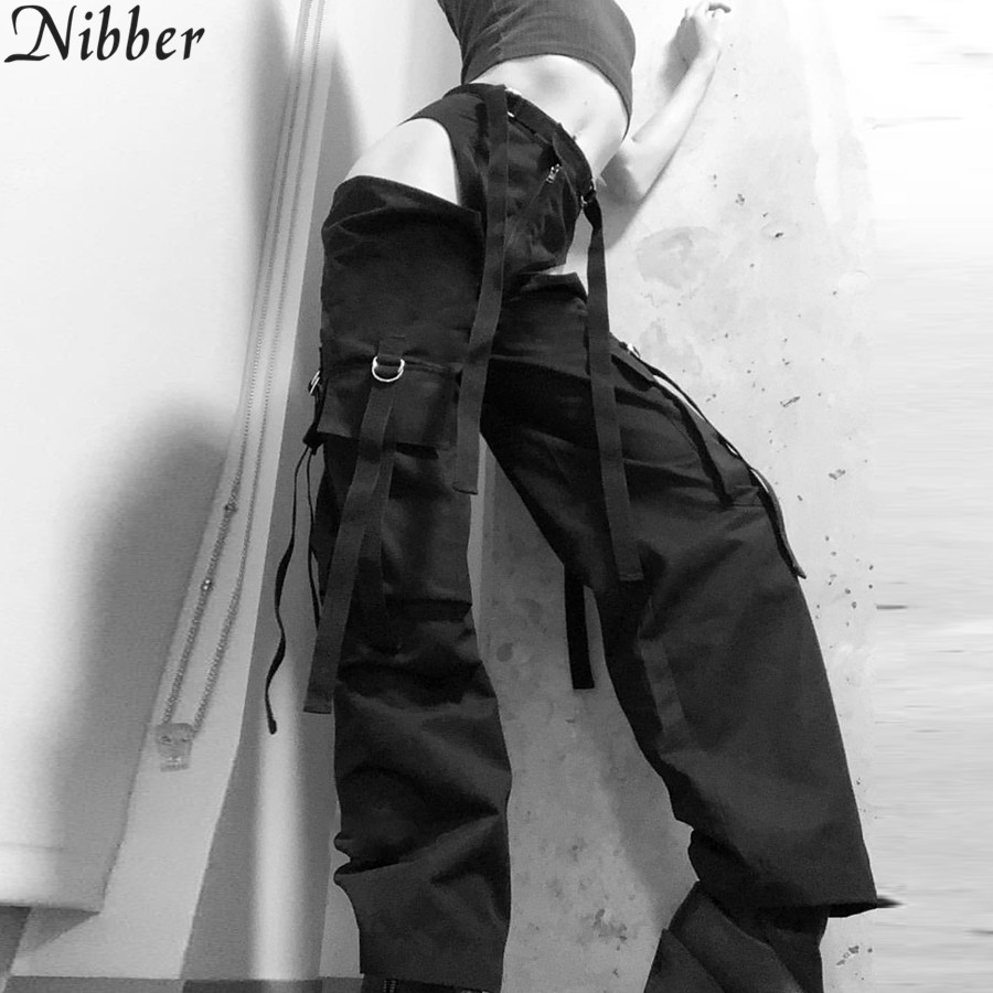 Nibber spring Autumn new women casual   pants   hollow harem   pants   straight   wide     leg     pants   2019 hot sale Gothic style women clothing