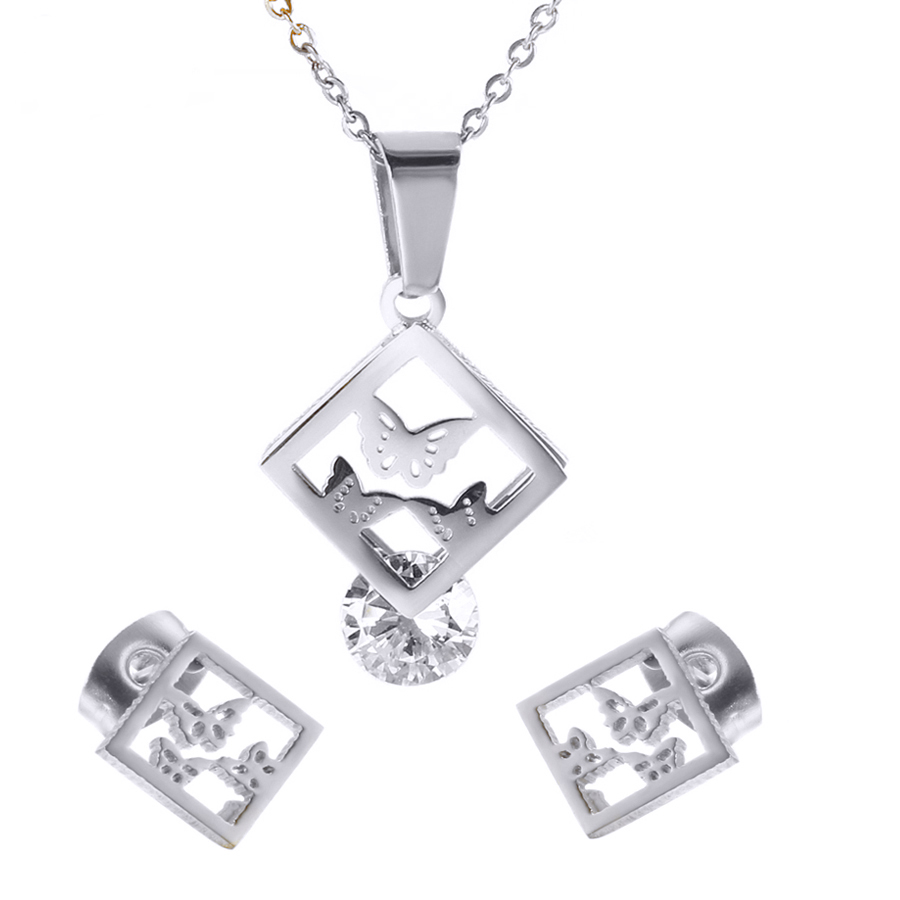 45+5CM high brightly stainless steel crystal jewelry for gift,butterfly necklace and earrings set
