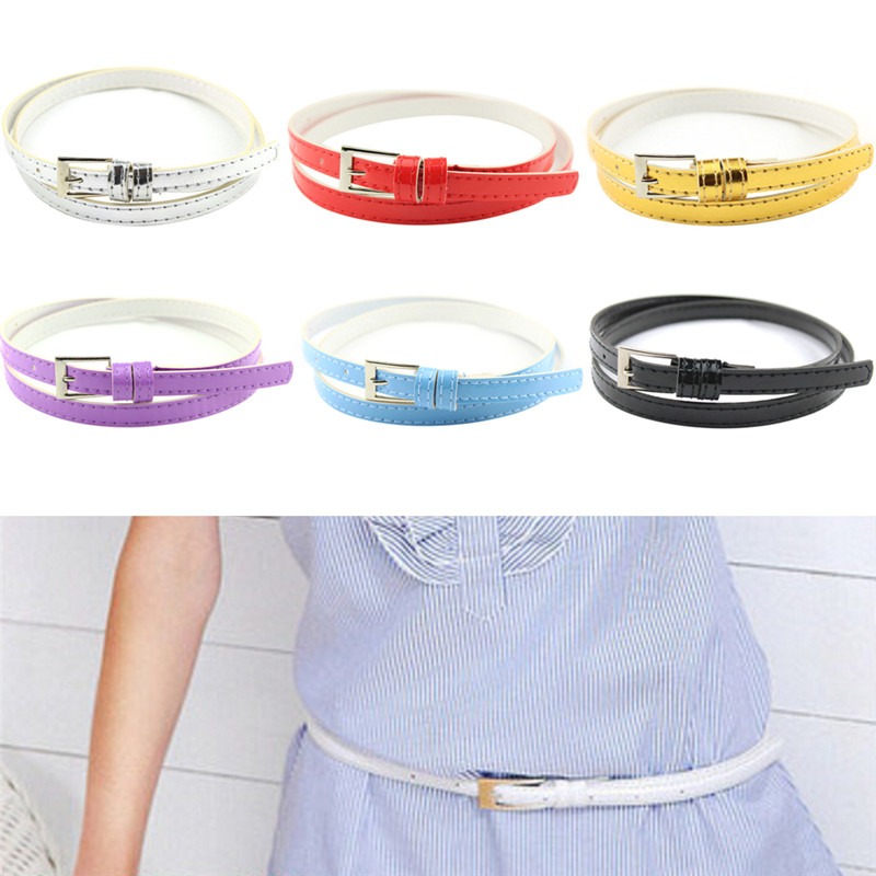 Women Laies Fashion Narrow Skinny Thin Patent Leather Bow Buckle Waist   Belt