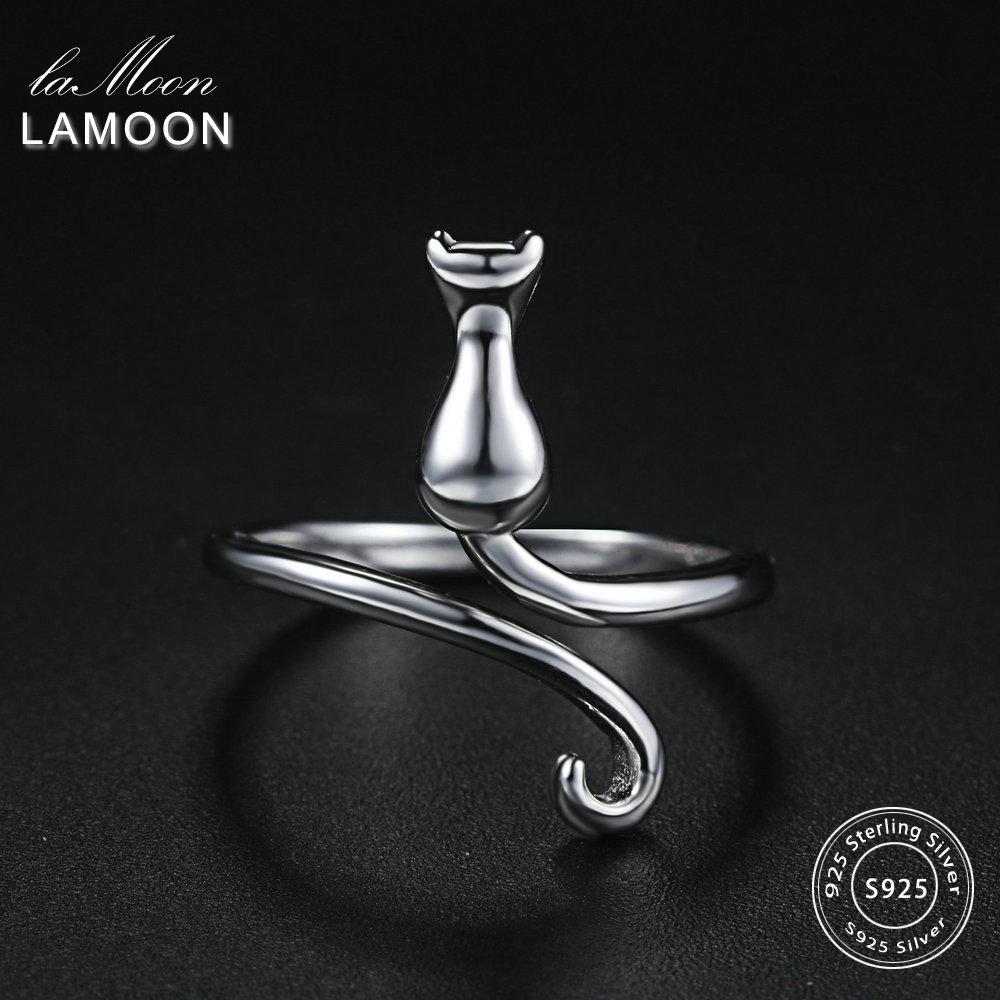 LAMOON High Polishing Lovely Cat S925 Adjustable Rings 925-Sterling-Silver Fine Jewelry for Women Gift Anti Allergy LMRY005