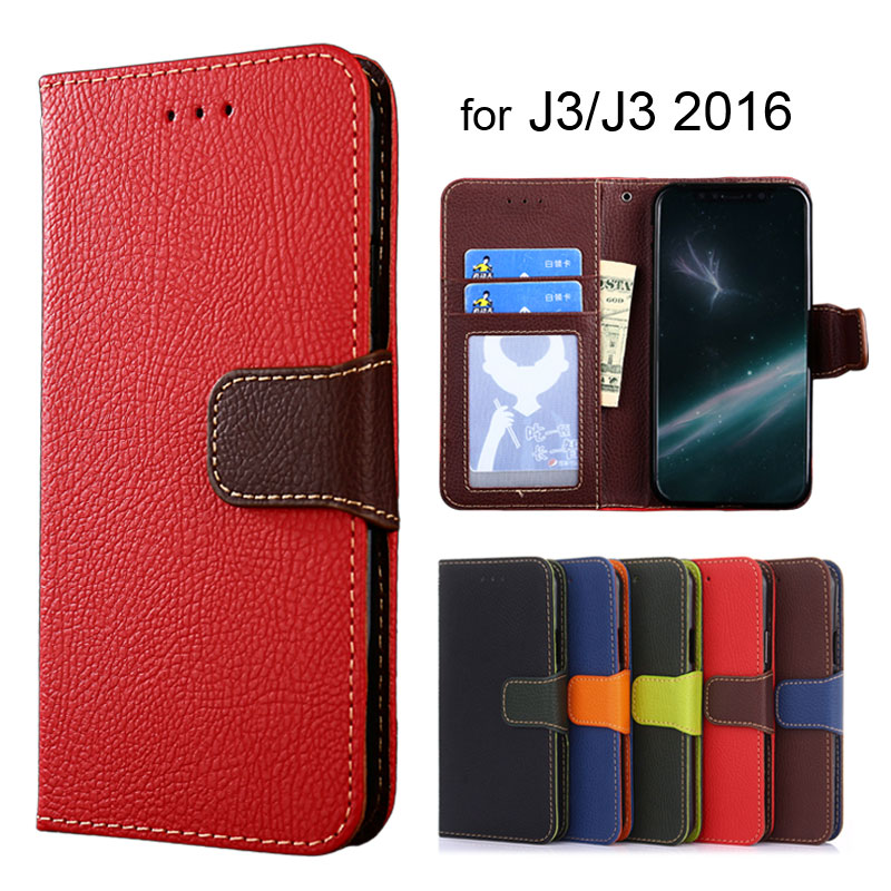Wallet case for Samsung Galaxy J3 2016 Litchi Pattern PU leather with soft TPU cover coque Hit color style J3 J310