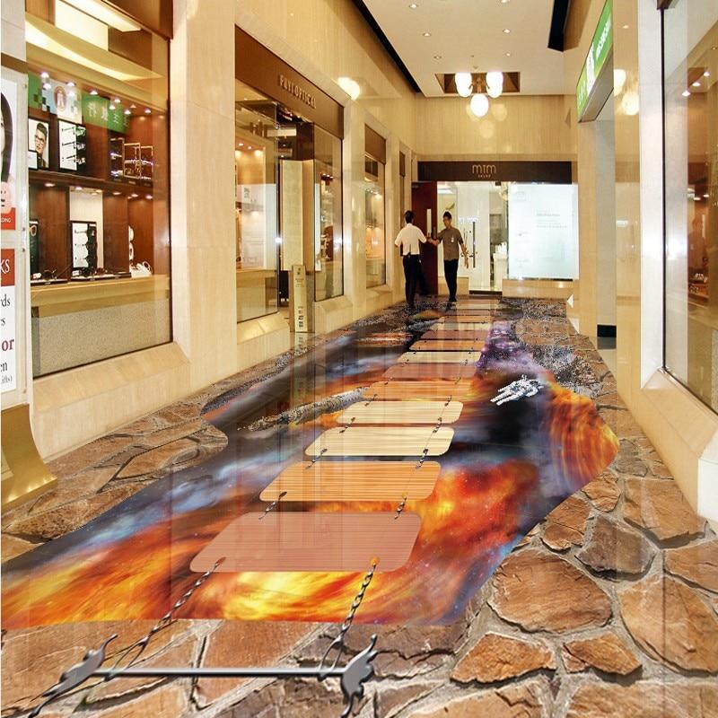 ФОТО Free Shipping custom Cosmic Galaxy Star 3D Floor waterproof thickened flooring wallpaper mural bathroom lobby home decoration