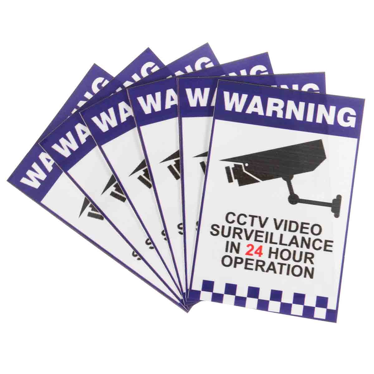 Safurance 6x Warning CCTV Security Surveillance Camera Sign Warning Decal Sticker 66x100mm Home Security Safety 24 hours cctv security warning board transparent black multi colored