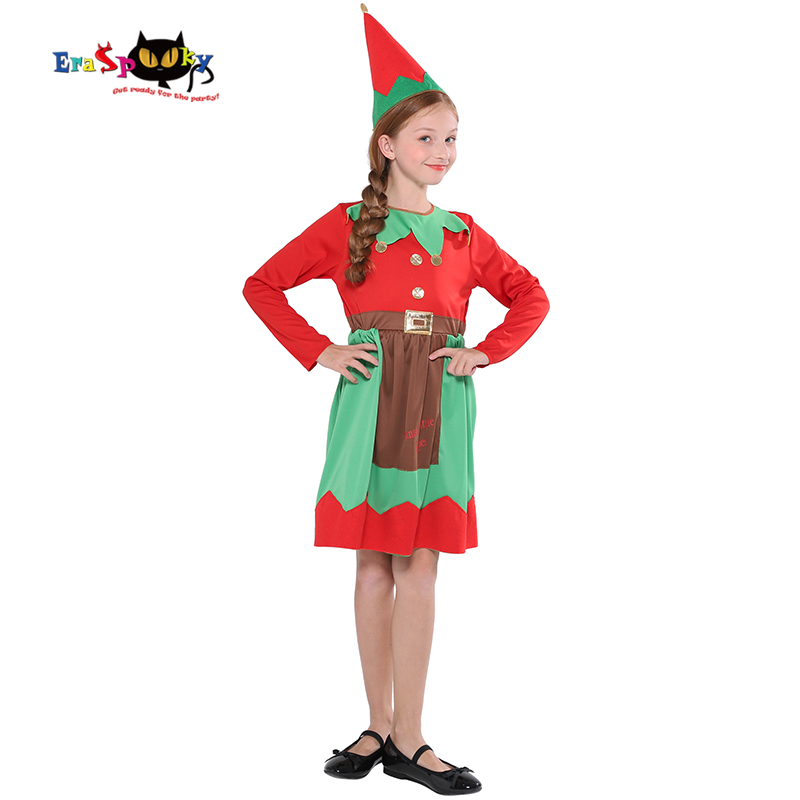 Eraspooky Santa Claus Dress Girls Christmas Elf Costume Children New Year Carnival Fancy Dress Disguise Festival Cosplay Hat