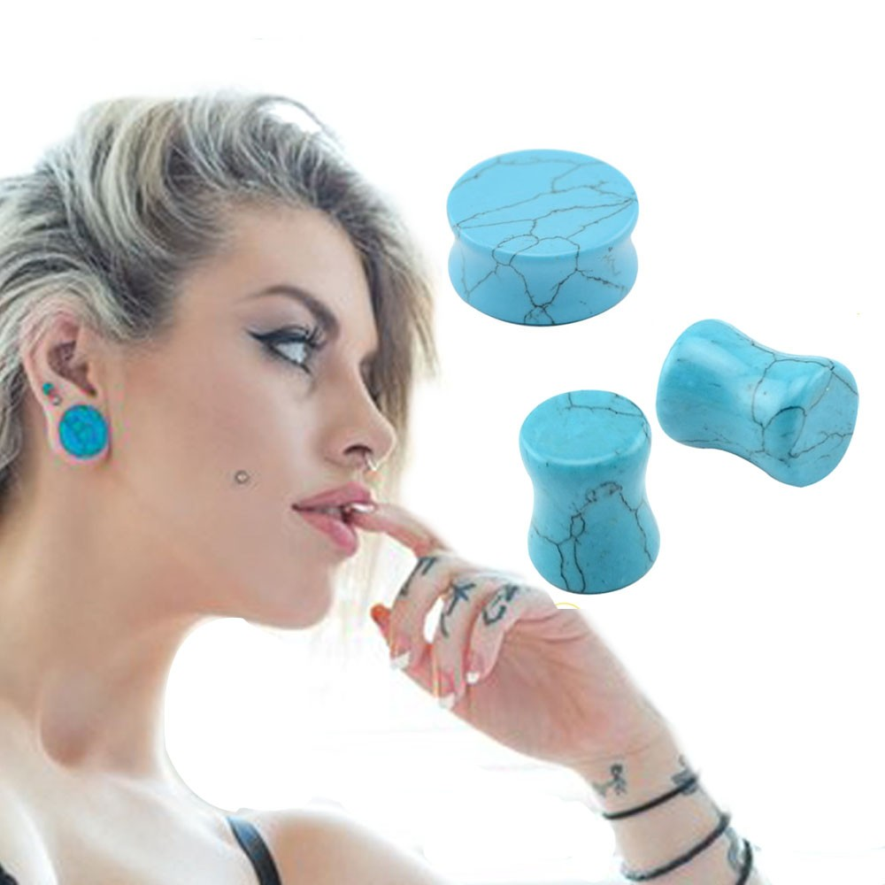 4 14mm Natural Stone Plugs And Tunnels Piercing Jewelry Double Flare Ear Expanders Stretching Gauge 00g Plug In Body From Accessories