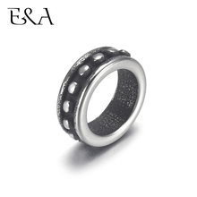 4pcs Stainless Steel Dot Ring Bead 6mm Large Hole Spacer for Jewelry Bracelet Making Metal Beads DIY Supplies Parts