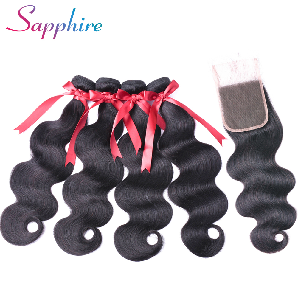 Sapphire Hair 4 Bundles Peruvian Body Wave With Lace Closure 100% Human Hair Bundles With Closure Non Remy Hair Weave