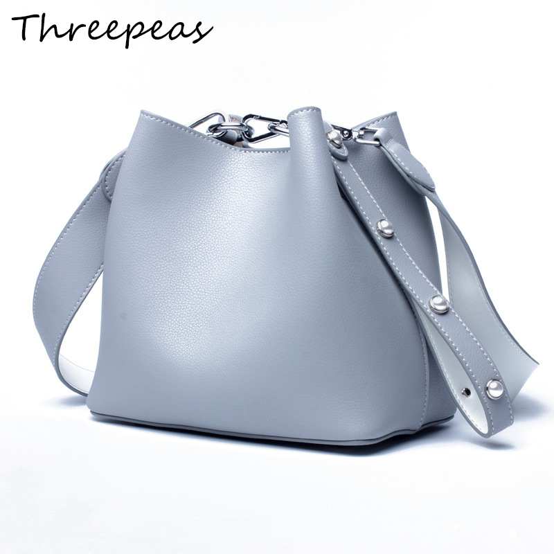 THREEPEAS Women Small Bucket Bag Genuine Leather Crossbody Bags Handbags Shoulder Bags Day Clutches Party Ladies Messenger Bag 2018 women bags handmade genuine leather small messenger crossbody bags embossed leather shoulder women bags day clutches