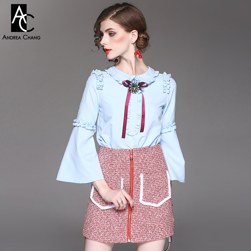 4132dcb716b spring autumn woman outfit beading bow peter pan collar sky blue shirt red  knitted mini skirt suit two-piece preppy cute outfit