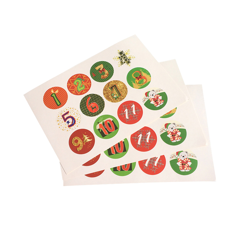 120pcs/lot New1-24 Christmas Advent Christmas Number Handmade Adhesive Packaging Sealing Label Sticker DIY Christmas Gift