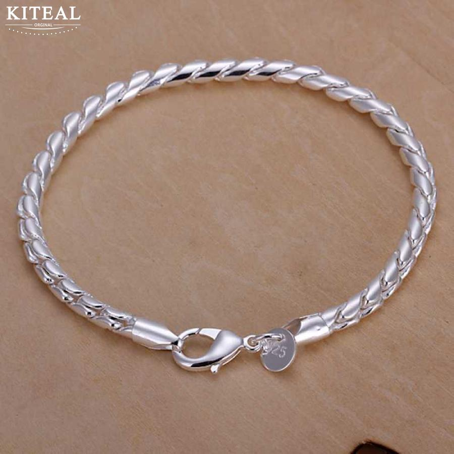 Bracelets & Bangles Chain & Link Bracelets Twisted Singapore Chain Silver Plated Bracelet For Women Men Unisex Jewelry Hand Chain H194 Beautifully Anniversary