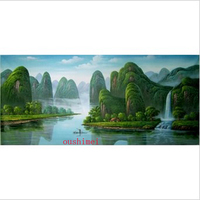 Handmade Pictures GuiLin Landscape In China Wall Decor On Wall Oil Painting On Canvas Famous Chinese Mounatin Water View Art