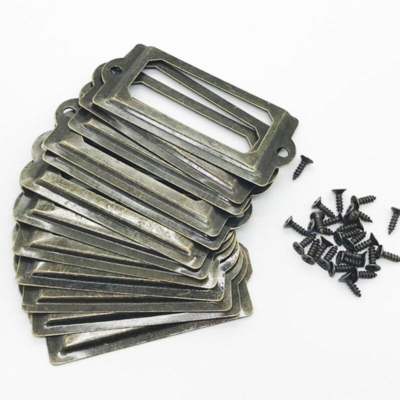 Antique Brass Metal Label Pull Frame Handle File Name Card Holder For Furniture Cabinet Drawer Box Case Bin 12Pcs  Per Set