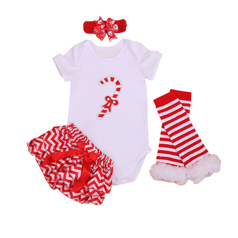 Christmas Romper Clothing Sets Short Sleeve Santa Claus Romper + PP Pants + Legging + Headband 4pcs Fashion Girl Stripe Red Set inflatable cartoon customized advertising giant christmas inflatable santa claus for christmas outdoor decoration