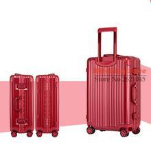 20 INCH 20242629# Pure fashion wear waterproof universal wheel aluminum box checked luggage suitcase #EC FREE SHIPPING