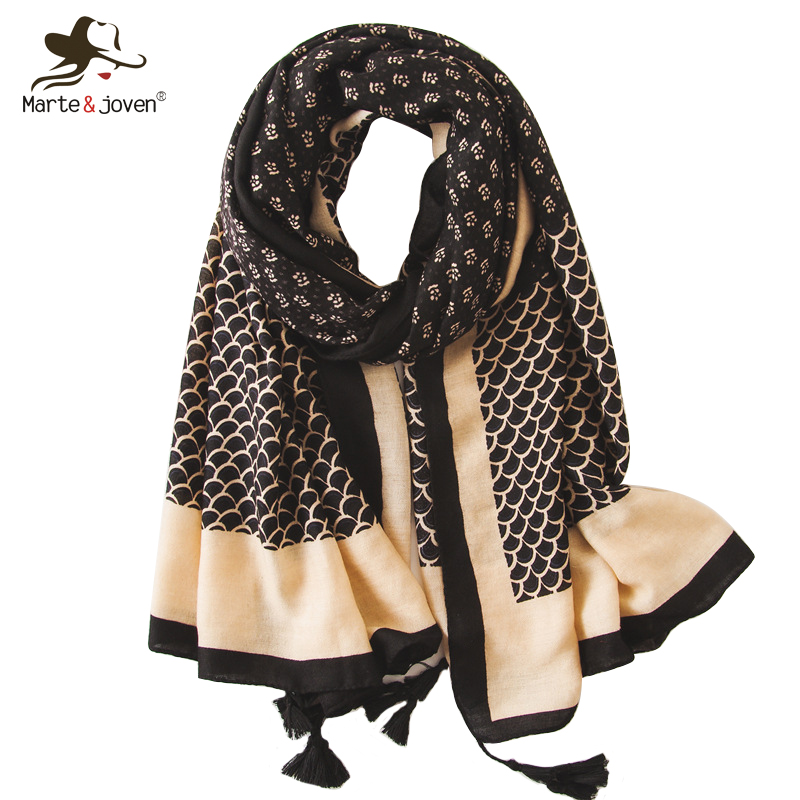 Women's Scarves Marte&joven Ethnic Style Floral Print Brown Scarf Wraps For Women Spring Autumn Long Shawls Pashmina Vintage Ladies Hijab