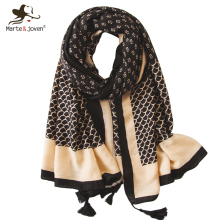 Marte&Joven Vintage Mini Floral Print Tassel Black Scarf for Women Elegant Fish Scale Pattern Long Muslim Shawl Pashmina Hijab