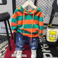baby stripe Hoodie + jeans 2pcs Children's Clothing Set Outfit Toddler Baby Boys Long Sleeves Set 2 6years For Autumn